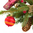 Christmas decorations   on fir tree — Stock Photo