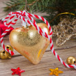 Stock Photo: Golden christmas decoration