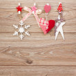 Chrismas  retro decorations hanging on rope — Stock Photo