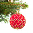 Christmas red and golden ball on fir tree — Stock Photo