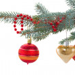 Decorated evergreen tree close up — Stock Photo