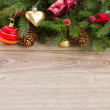 Decorated green fir tree border — Stock Photo