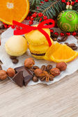 Stack of yellow macaroons for christmas — Stock Photo