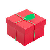 Red gift box with tag — Stockfoto