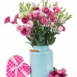 Pink eustoma flowers with pink heart  box — Stock Photo
