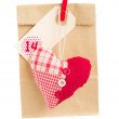 Paper bag  for valentines day with heart — Stock Photo