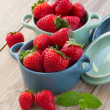 Strawberry in bowls — Stock Photo