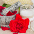 Spa settings with fresh red roses — Stock Photo #36509043
