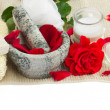 Spa settings with fresh roses on white — Stock Photo