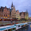 Buildings With Tourboats, Ghent — Stock Photo