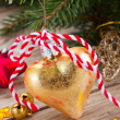 Golden christmas decoration close up — Stock Photo