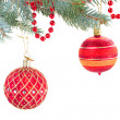 Decorated evergreen fir  tree close up — Stock Photo