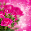 Bunch of pink roses on background with hearts — 图库照片