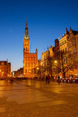 City hall of Gdansk at night — Stock Photo