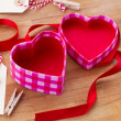 Open empty box in heart shape — Stock Photo