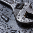 Adjustable spanner in water drops close up — Stock Photo #36912675