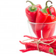 Red chili peppers in glass bowl — Stock Photo