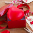 Red heart in box for valentines day — Stock Photo