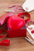 Red heart in box for valentines day — Foto de Stock