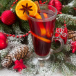 Mulled wine with christmas tree — Stock Photo