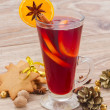 Mulled wine on wooden table — Stock Photo