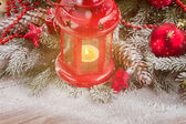 Christmas red lantern — Stockfoto