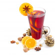 Glass of christmas mulled wine — Stock Photo