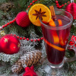 Mulled wine with  christmas tree close up — Stock Photo