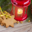 Gingerbread cookies and red lantern — Stock Photo