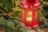 Christmas red glowing lantern close up — Stock Photo