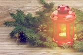 Red glowing lantern with evergreen tree — Stock Photo