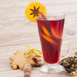 Stock Photo: Mulled red wine on wooden table
