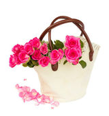 Heap of pink roses bouquet with petals — Stock Photo