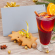 Stock Photo: Mulled wine and gingerbread cookies with card