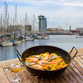 Seafood paella in seaside cafe, Barcelona — Stock Photo