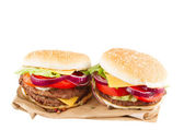 Two Burgers on paper — Stock Photo