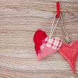 Two red hanging hearts — Stock Photo #38145099