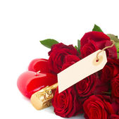 Valentine's day dark red roses with tag — Foto de Stock