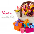 Stock Photo: Bag of tulips with gift boxes