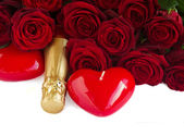 Valentine's day dark red roses and hearts — Stock Photo