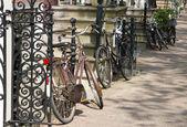 Bikes on street of Amsterdam — Stock Photo