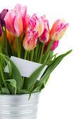 Ramo de tulipanes rosa flores cerrar — Foto de Stock