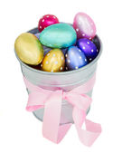 Multicolored easter eggs in metal pot — Stock Photo