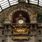 Uhr auf Antwerpen Hauptbahnhof — Stockfoto