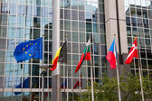 European flags , Brussels — Stock Photo