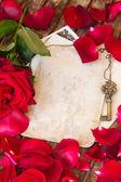 Vintage background with rose petals — Zdjęcie stockowe