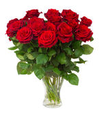 Bouquet of blossoming dark red roses in vase — Stock Photo