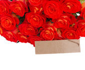 Bunch Of Fresh Orabge Roses with empty tag — Stock Photo