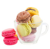 Cup of coloful macaroons — Stock Photo