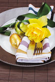 Cutlery serving on plate for easter — Stock Photo